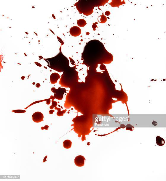 blood splat on white background - bloody gore stock pictures, royalty-free photos & images