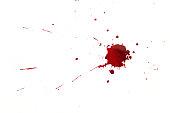 Blood splatters on white background