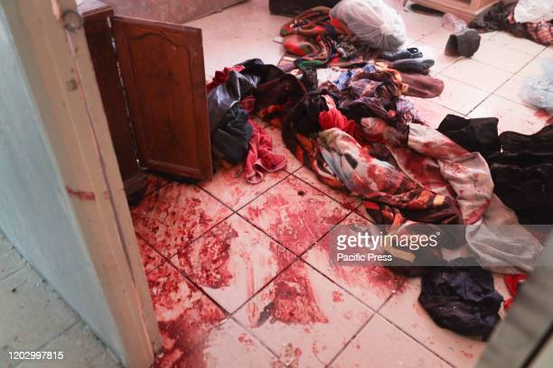 Blood stain on the floor seen at the crime scene in Ciudad Juarez a home where police against criminals face gunshots six criminals were killed and...