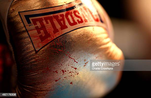 A blood stained glove is seen during Boxing at York Hall on October 10 2015 in London England