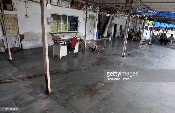 Blood stains mark the floor at the Nandishwar Digambar Jain temple in Borivli from where valuables worth Rs 45 lakh were stolen and a watchman was...