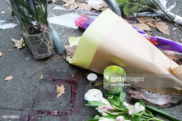 Blood stains near the scene of the Bataclan Theatre terrorist attack on November 14, 2015 in Paris, France. At least 120 people have been killed and...