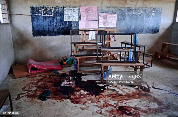 Blood stains the floor of a classroom in Kilelengwani village in the Tana river Delta on September 12 2012 Orma tribe villagers and the Red Cross...
