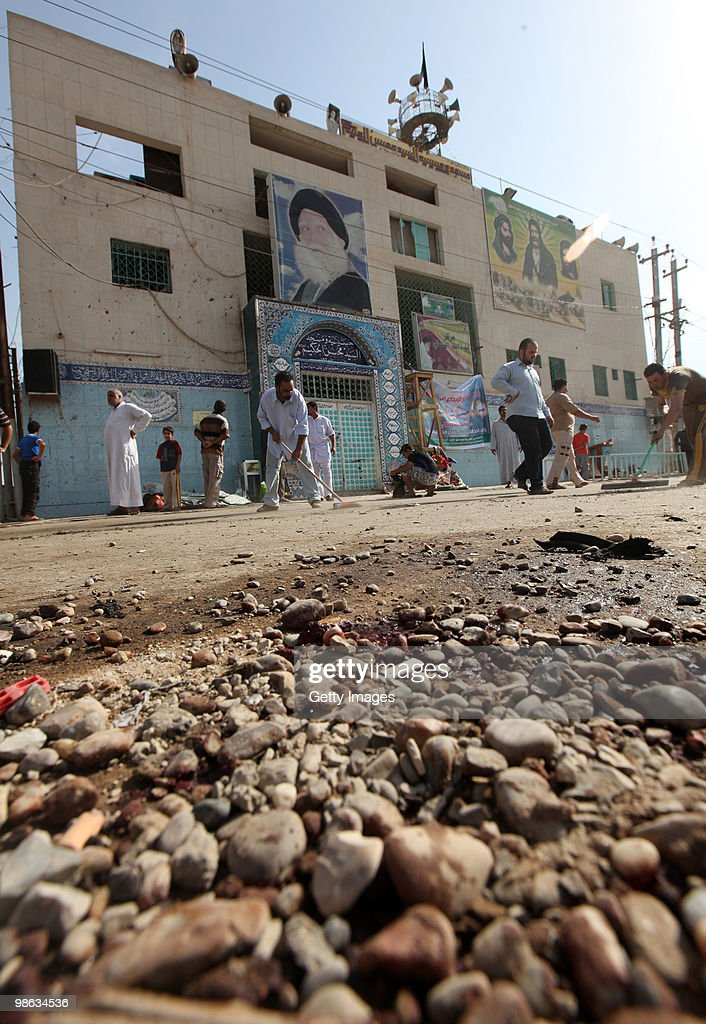 Blood stains the ground near Mohsin al-Hakim Shiite mosque, which was the scene of a bombing on April 23, 2010 in Baghdad, Iraq. A series of bombings rocked a market and Shiite mosques as worshippers departed Friday Prayer services, killing at least 60 people and wounding many more.
