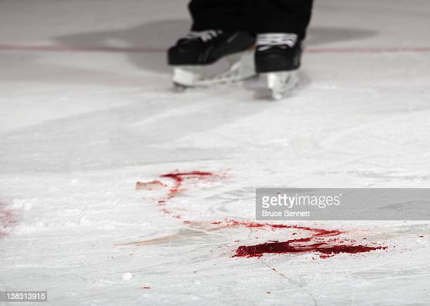 Blood stains the ice following an inury to Travis Hamonic of the New York Islanders in his game against the Buffalo Sabres at the Nassau Veterans...
