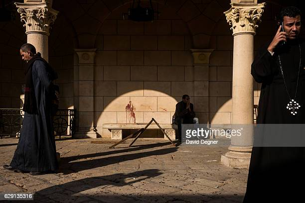 Blood stains the wall in the courtyard at the site of the bombing on December 11 2016 in Cairo Egypt A bomb exploded inside the Saint Mark's Coptic...
