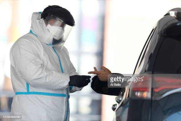 COVID19 blood test is administered outside of Delmont Medical Care on April 22 2020 in Franklin Square New York The test identifies antibodies to the...
