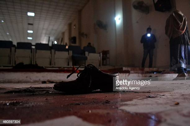 Blood trace and a shoe are seen in an armyrun school which was stormed by Taliban gunmen in Peshawar Pakistan on December 17 2014 The deadly terror...
