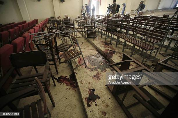 Blood traces are seen at the conference saloon in an armyrun school after Taliban attack on Tuesday in Peshawar Pakistan on December 17 2014 At least...