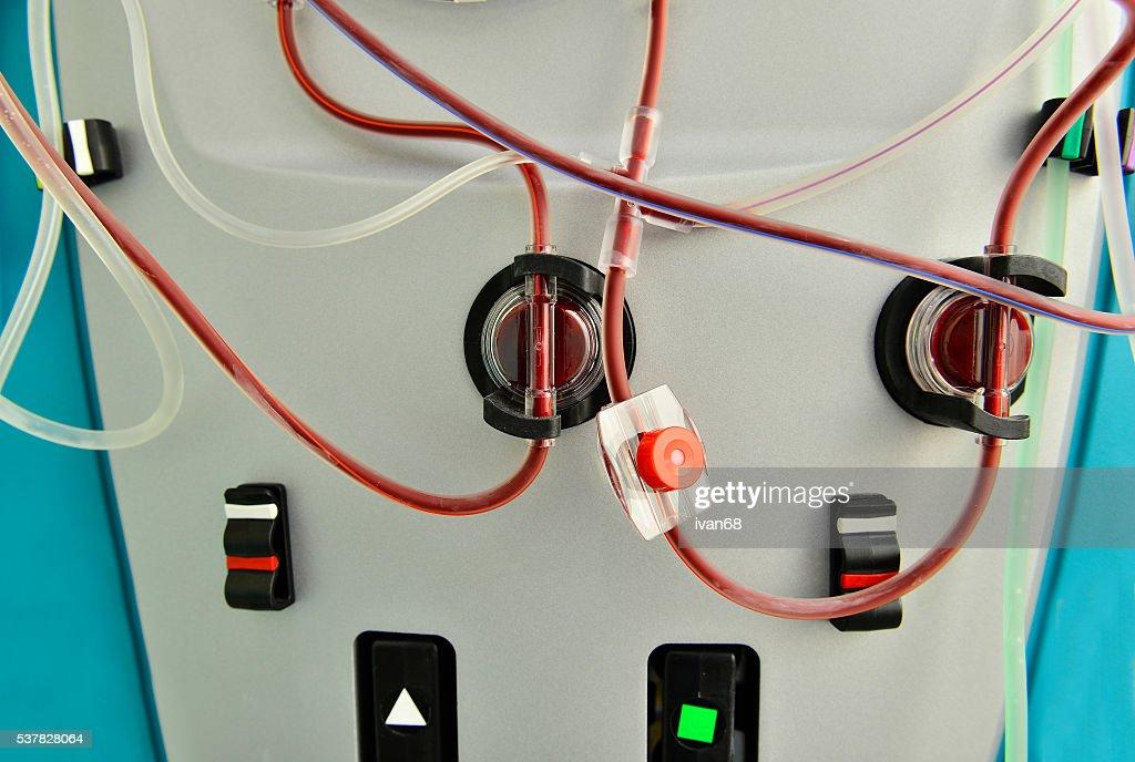 Blood tubes on hemodyalisis machine : Stock Photo