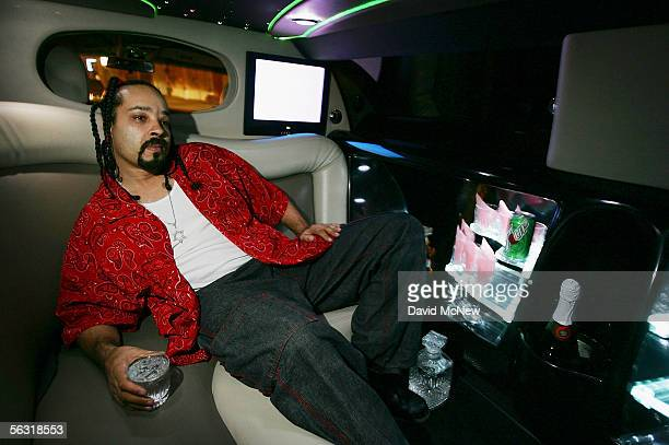 Bloodhound a shot caller or boss with the LA Bloods gang relaxes in a rented limousine after speaking in support of granting clemency for Stanley...