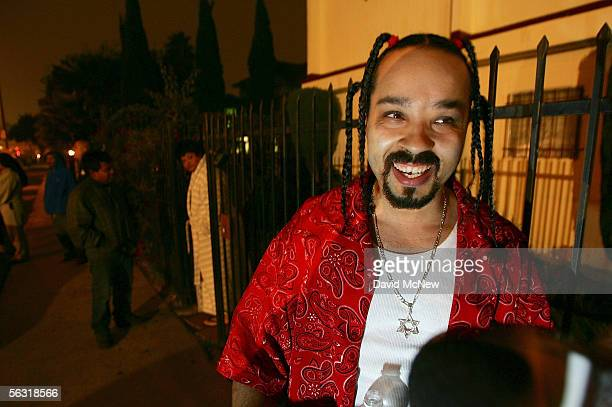 Bloodhound a shot caller or boss with the LA Bloods gang speaks to a reporter in support of granting clemency for Stanley Tookie' Williams cofounder...