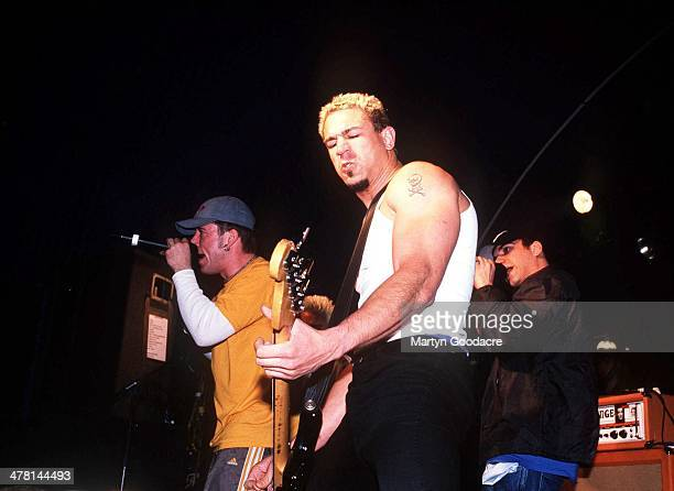 Bloodhound Gang bassist Evil Jared Hasselhoff performs on stage with singer Jimmy Pop V2000 Festival United Kingdom 2000