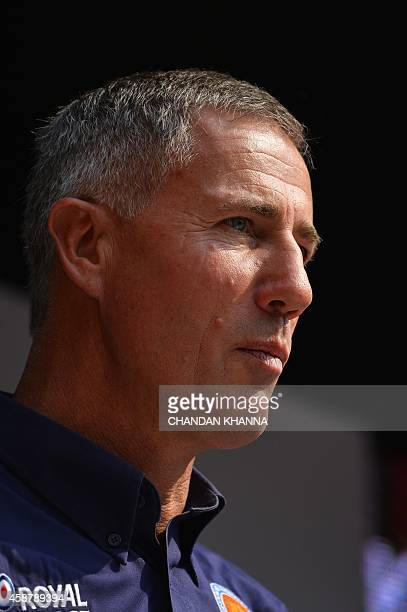 Bloodhound SuperSonic Car driver Wing Commander Andy Green looks on during the Bloodhound Show Car display in New Delhi on November 11 2014 Currently...