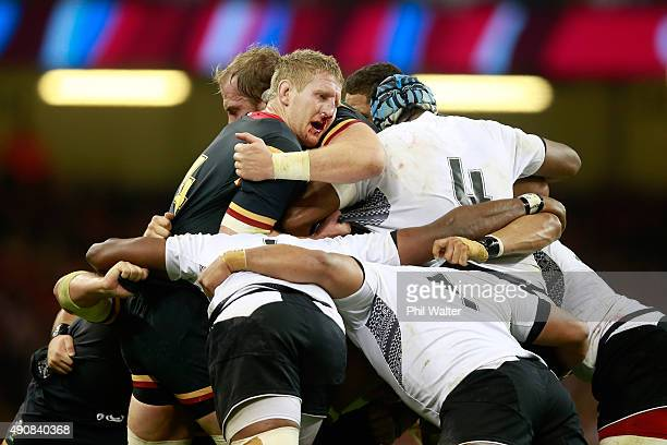 A bloodied Bradley Davies of Wales mauls during the 2015 Rugby World Cup Pool A match between Wales and Fiji at the Millennium Stadium on October 1...