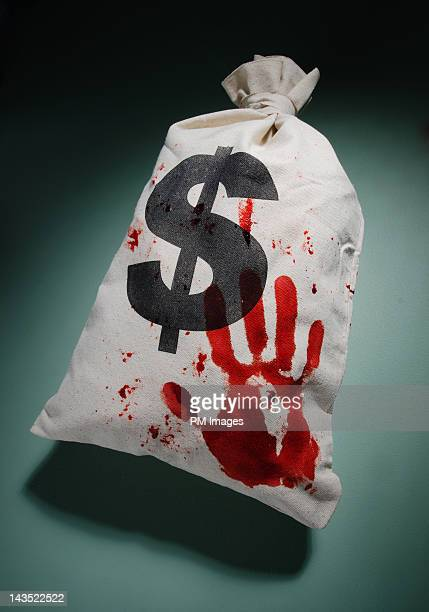 Bloodied money bag