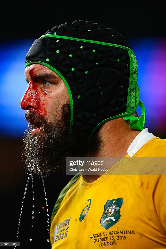 A bloodied Scott Fardy of Australia looks on during the 2015 Rugby World Cup Semi Final match between Argentina and Australia at Twickenham Stadium on October 25, 2015 in London, United Kingdom.