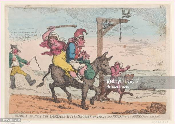 Bloody Boney the Carcass Butcher Left of Trade and Retiring to Scarecrow Island April 12 1814 Artist Thomas Rowlandson