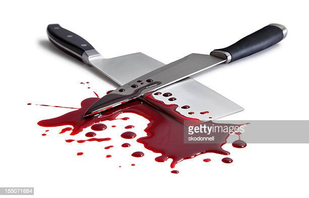 Bloody Butcher and Kitchen Knife on White