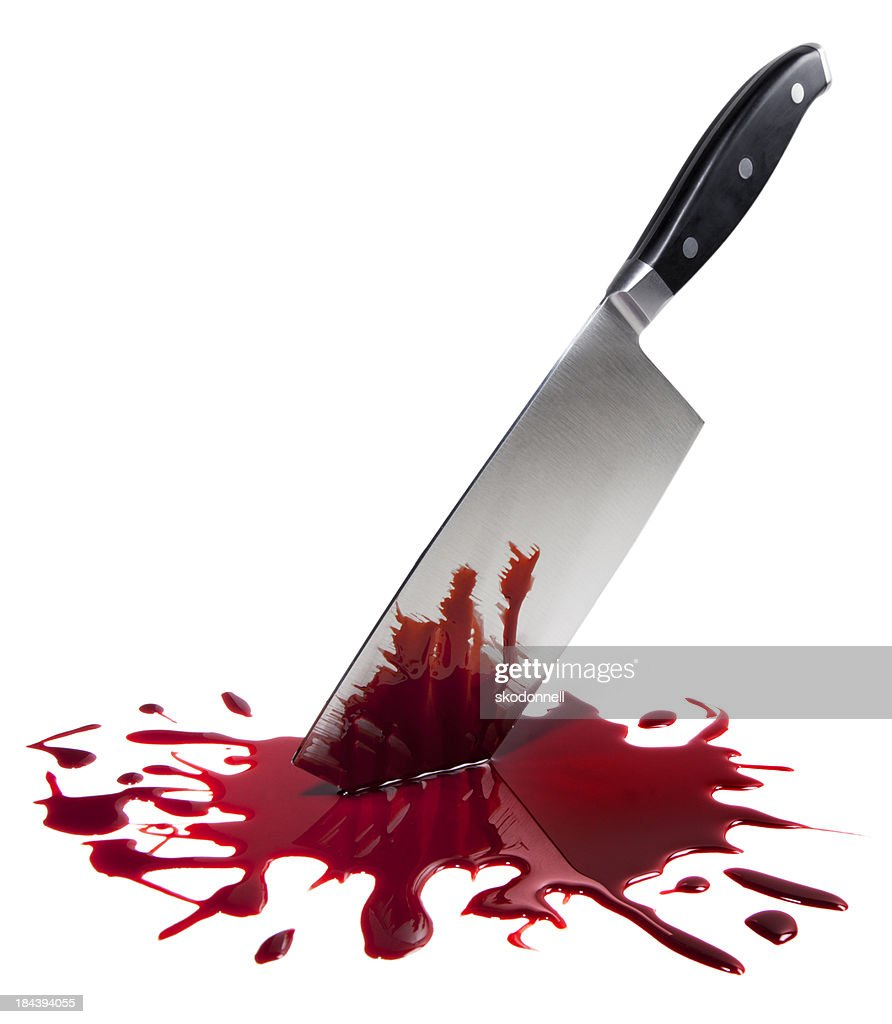 Bloody Butcher Knife on White : Stock Photo