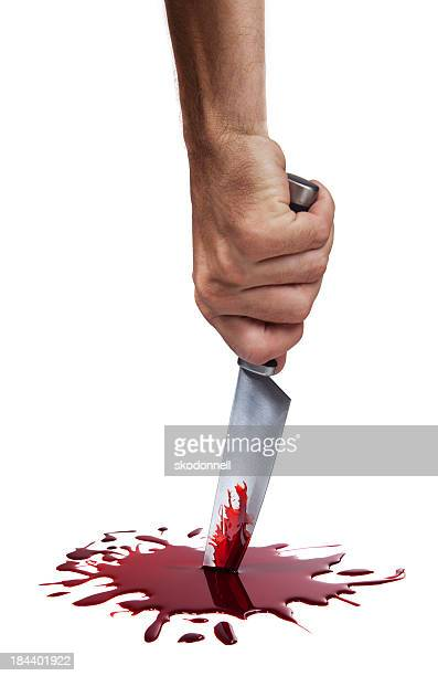 bloody kitchen knife on white - bloody hand stock photos and pictures