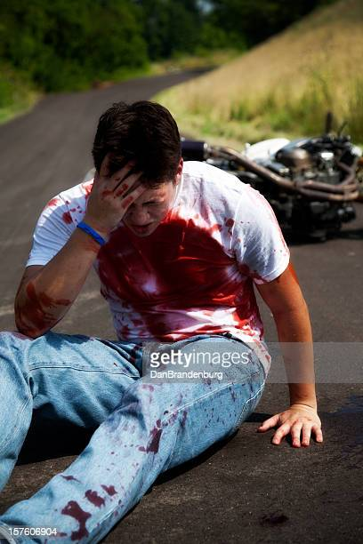 bloody motorcycle accident - motorcycle accident stock pictures, royalty-free photos & images