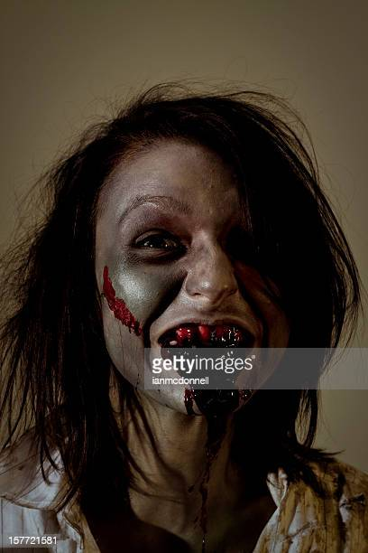 bloody - zombie makeup stock photos and pictures