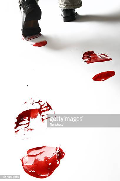 Bloody Shoe Prints Isolated on White Background