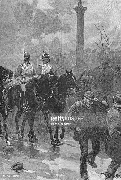 'Bloody Sunday' London 1887 The Life Guards holding Trafalgar Square Police and troops attacked demonstrators protesting against unemployment and...