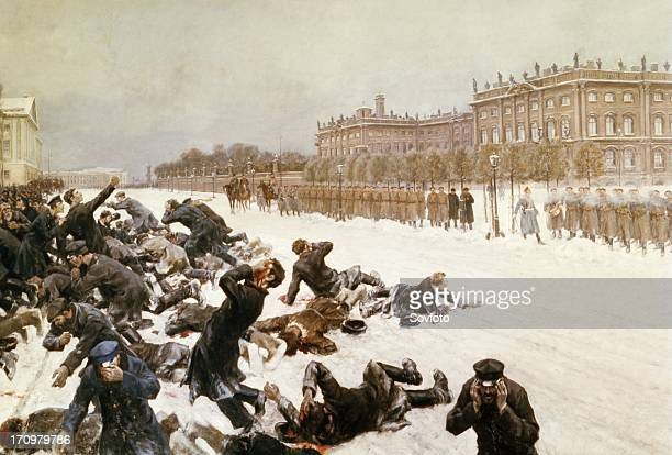 Bloody sunday, painting by i, vladimirov of tsar nicholas' troops shooting demonstrators outside of the winter palace in st, petersburg on january...