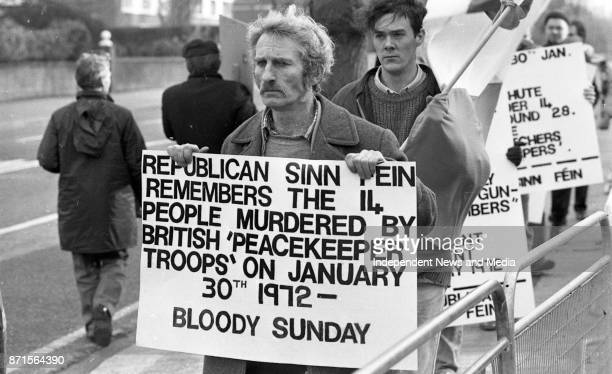 Bloody Sunday protest march outside the British Embassy Dublin circa January 1988
