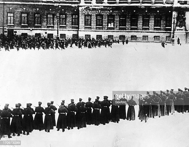 Bloody sunday', tsar nicholas ll's troops shooting demonstrators outside of the winter palace in st, petersburg, russia, january 22 still taken from...