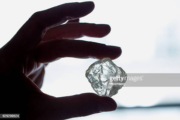 The Foxfire diamond is displayed for a photograph during a viewing in New York US on Tuesday May 10 2016 The rare Foxfire was buried in a place where...