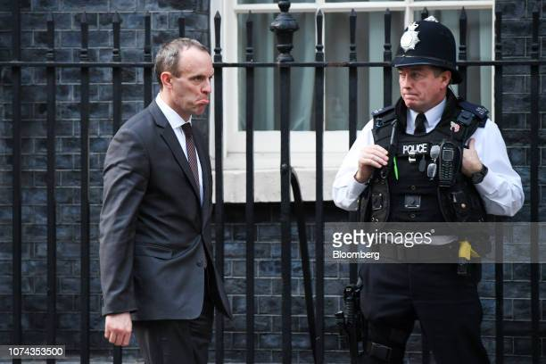Dominic Raab UK exiting the European Union secretary departs number 10 Downing Street after attending a second meeting of the day in London UK on...