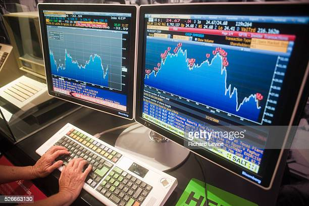 Bloomberg LP financial data terminal is seen on Wednesday, August 18, 2009 in New York. JPMorgan Chase announced that it is considering removing...