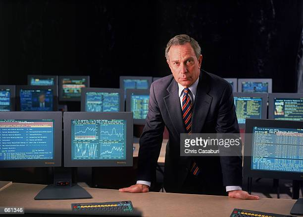Bloomberg L.P. Founder and CEO Michael Bloomberg poses for a portrait November 2, 1998 in the training room at his offices in New York City.