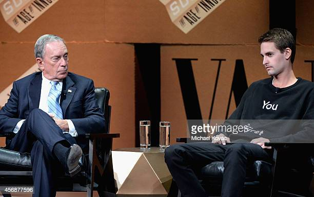 Bloomberg LP Founder Michael Bloomberg and Snapchat CEO Evan Spiegel speak onstage during 'Disrupting Information and Communication' at the Vanity...