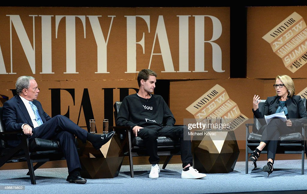 Bloomberg LP Founder Michael Bloomberg, Snapchat Co-Founder and CEO Evan Spiegel, and Yahoo News Global Anchor Katie Couric speak onstage during 'Disrupting Information and Communication' at the Vanity Fair New Establishment Summit at Yerba Buena Center for the Arts on October 8, 2014 in San Francisco, California.