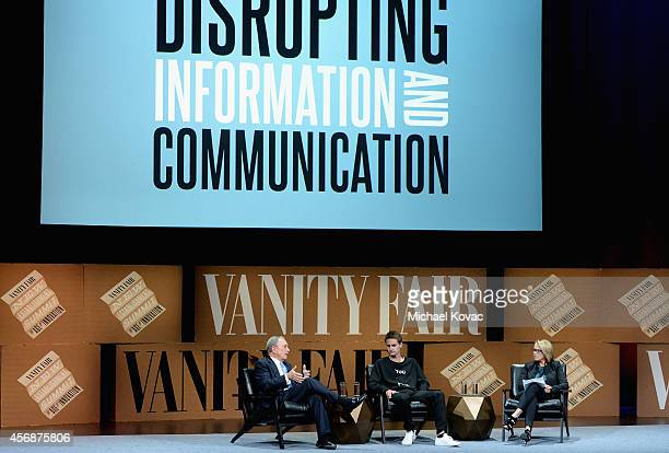 Bloomberg LP Founder Michael Bloomberg Snapchat CoFounder and CEO Evan Spiegel and Yahoo News Global Anchor Katie Couric speak onstage during...
