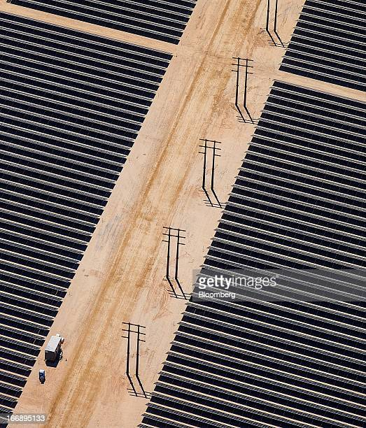Bloomberg Photo Service 'Best of the Week' Solar panels are seen in this aerial photograph of First Solar Inc's Desert Sunlight Solar Farm in Mojave...