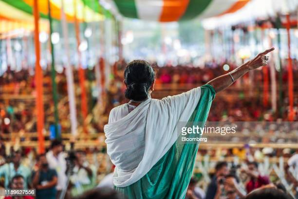 Bloomberg Pictures Of The Year 2019: Polarizing Power. Mamata Banerjee, chief minister of West Bengal, speaks during a campaign rally in Swarupnagar,...