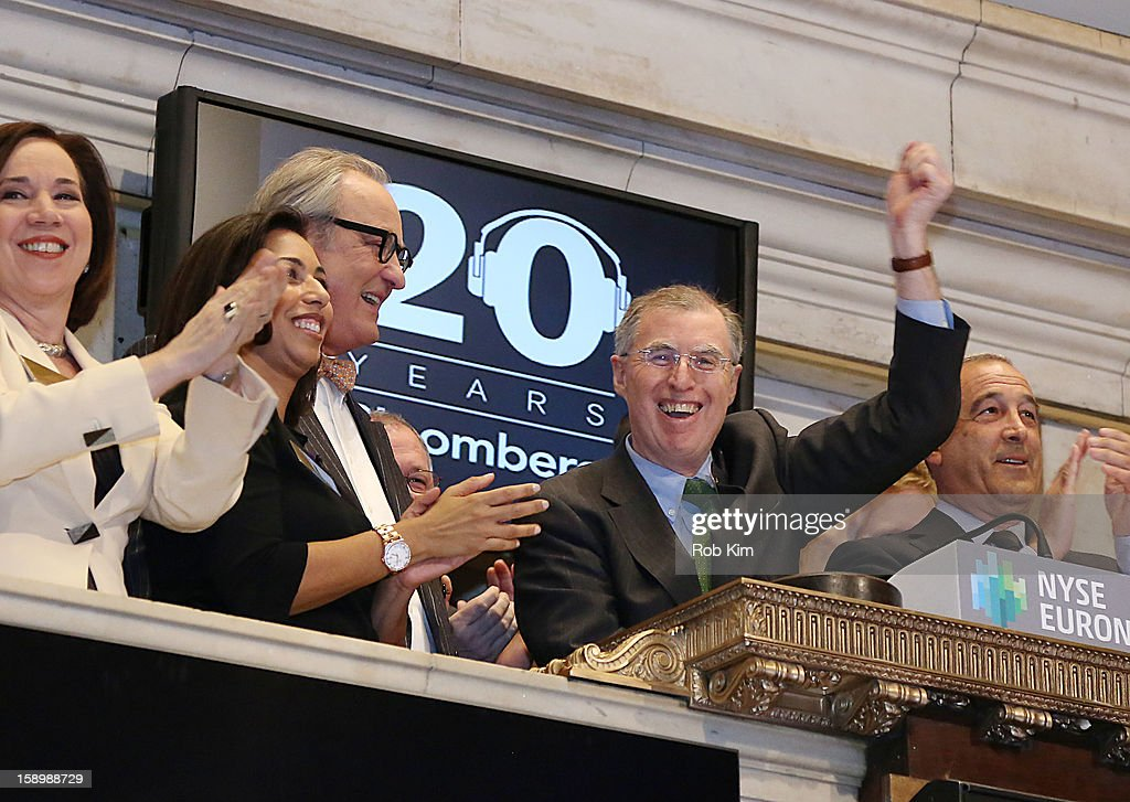 Bloomberg Radio Host Tom Keene And Reporter Charlie Pellett Ring NYSE Closing Bell