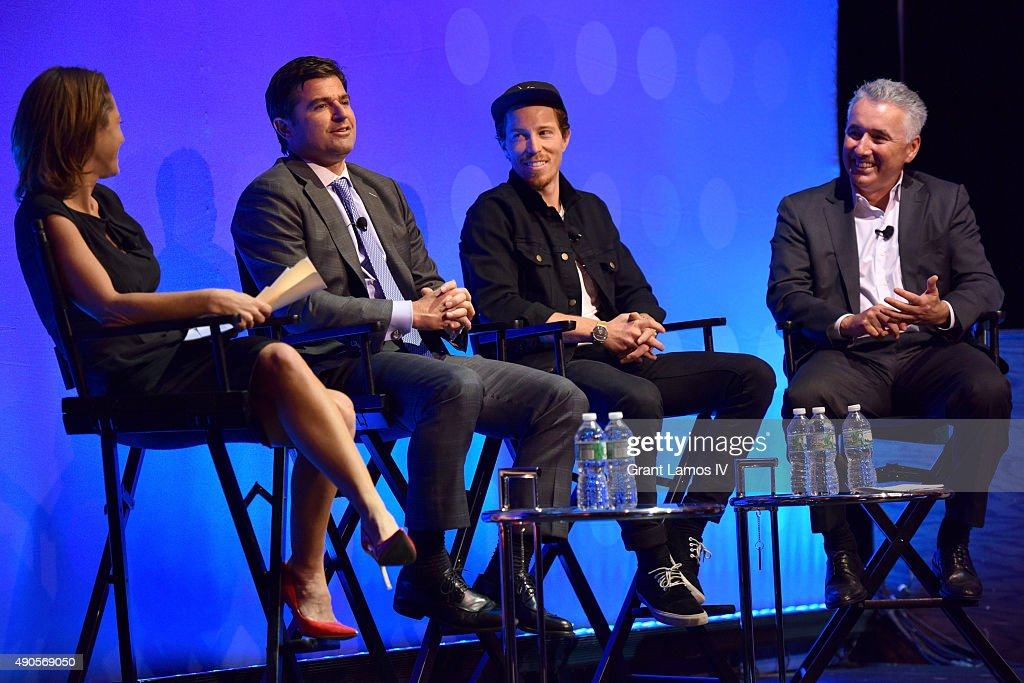 Bloomberg Television Anchor Stephanie Ruhle; Philadelphia 76ers, NJ Devils and Prudential Center CEO Scott O'Neil, professional snowboarder Shaun White, and Evolution Media Captial Partner and Head of Sports Media Alan Gold speak onstage at the