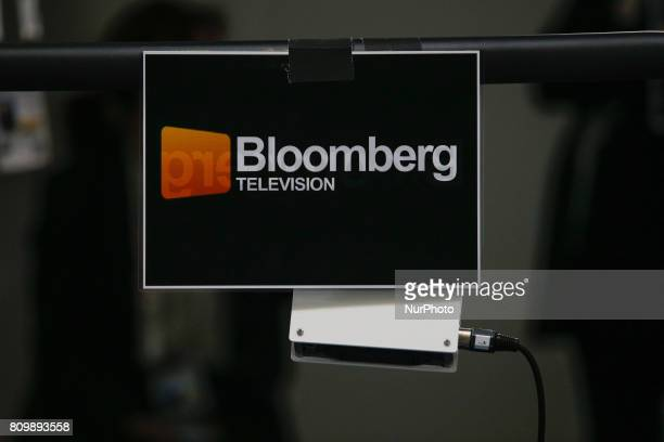 A Bloomberg television sign is seen at the press center in the Hamburg Messe where the 2017 G20 meeting will be held on Friday and Saturday