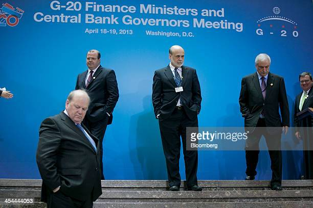 Bloomberg's Best Photos 2013 Ben S Bernanke chairman of the US Federal Reserve center rear Alexandre Tombini president of the central bank of Brazil...