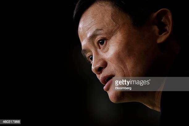 Bloomberg's Best Photos 2014: Billionaire Jack Ma, chairman of Alibaba Group Holding Ltd., speaks during an interview on the floor of the New York...