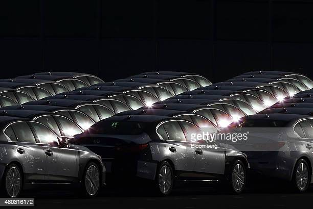 Bloomberg's Best Photos 2014 Nissan Motor Co Infiniti branded vehicles bound for shipment sit in a lot at a port in Hitachi City Ibaraki Prefecture...