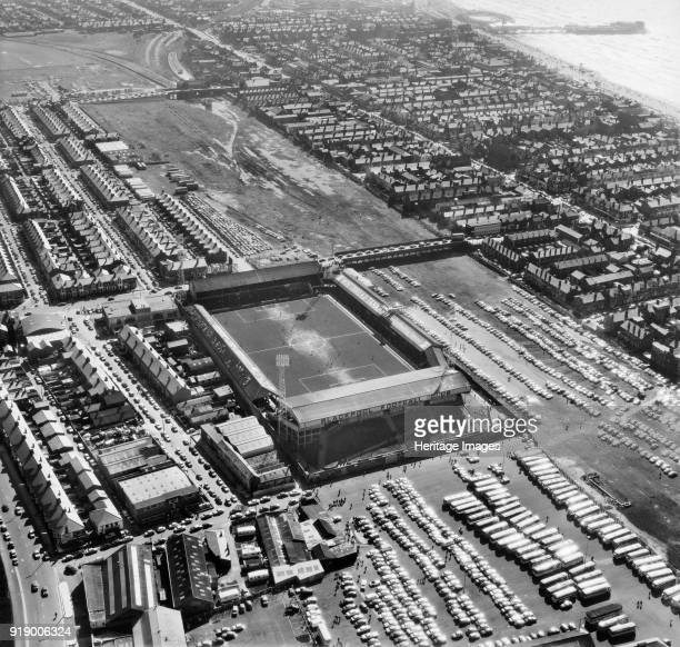 Bloomfield Road Blackpool Lancashire 1972 Aerial view of the home of Blackpool Football Club since 1899 Photographed with a match in progress