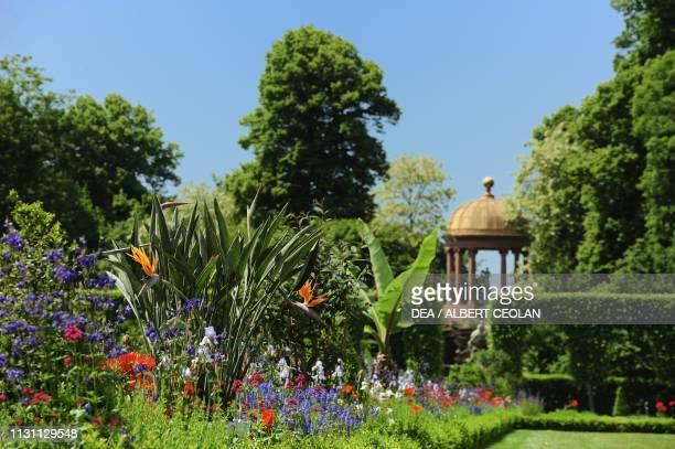 Blooming flowers in the garden of Schwetzingen Castle BadenWurttemberg Germany