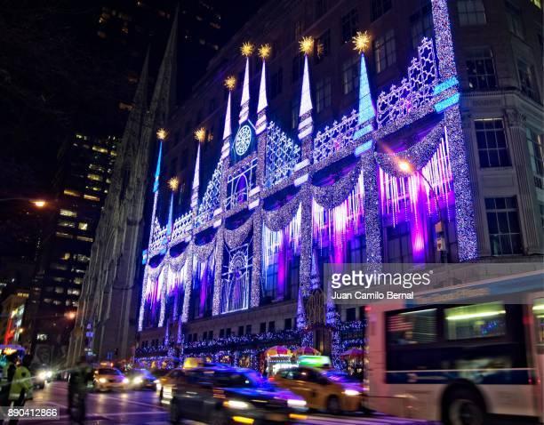Bloomingdale's Christmas decoration outside its 5th Ave store in Manhattan, New York